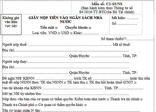 Cách ghi giấy nộp tiền vào ngân sách nhà nước